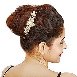 Lovable Wedding Bride Rhinestone Floral Golden Hair Pin Hair Decoration Clip