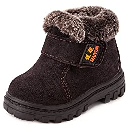 Toddler Boys Girls Outdoor Flat Bootie Shoes Leather Winter Ankle Snow Boots (1-13 Years Kids)