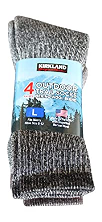 Kirkland Signature Outdoor Trail Sock Merino Wool Blend (Large - Pack of 4)