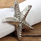 "The Beach Chic Starfish Napkin Ring Set of 4 Silver Napkin Rings, Hand Polished, 2 X 2 "", By Whole House Worlds"