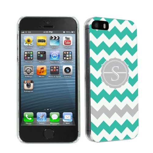 Skinguardz Ultra Slim Clear Plastic Case For Apple Iphone 5 Or 5S - Mint Chevron Monogram Initial S front-366866