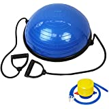 JLL® Balance Trainer - (modeled on the Bosu Balance Trainer), Heavy duty suitable for Home and Gym, Workout Cords and air pump included. Dispatched on a 1st class delivery service.