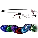 "Koolertron 7 Color LED Under Car Glow Underbody System Neon Lights Kit 48"" x 2 & 36"" x 2 w/Sound Active Function and Wireless Remote Control"