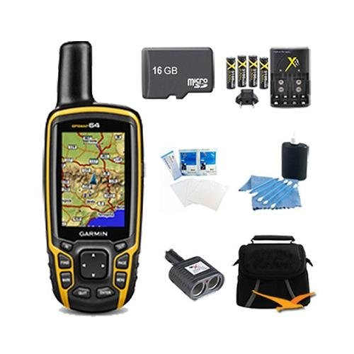 GPSMAP 64, Worldwide Handheld GPS Navigator 16GB Accessory Bundle. Bundle Includes GPSMAP 64 GPS, 16GB Micro SD Card, AA Charger w/ 4 AA Batteries, Deluxe Gadget Bag, Cigarette Lighter Adapter, Cleaning Kit, and Screen Protectors for LCD's.