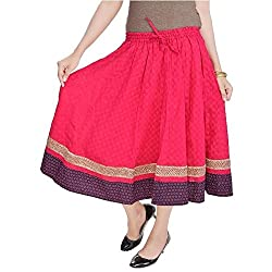 SHREEMANGALAMMART Rajasthani Pink Cotton Skirt (Magenta)(SMSKT508)