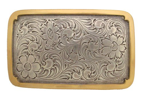 Western Southwest Belt Buckle Rectangle in Shape Sterling Silver Finish (Antique Style)