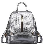 SAIERLONG Neues Damen Silber Rindleder-Echtes Leder Schultertaschen Handtaschen Rucksackhandtaschen Rucksäcke
