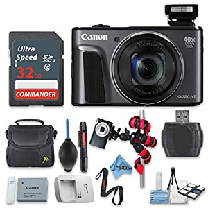 Canon PowerShot SX720 HS (Black) with 32GB High Speed Memory Card - International Version (No Warranty)