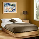 Queen Platform Bed Frame Maple Wood Color Low Profile with Molding