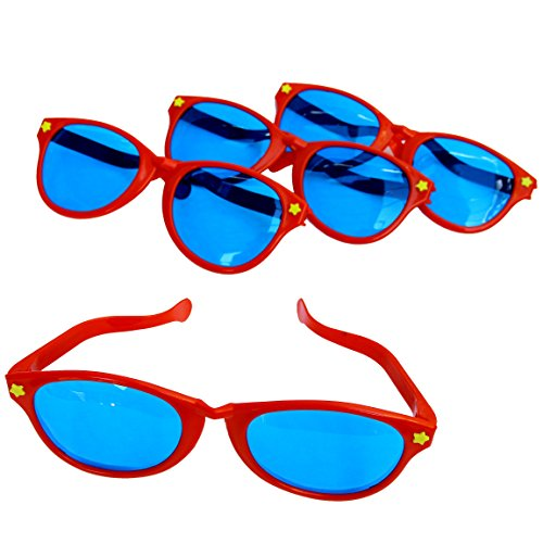 Dazzling Toys Plastic Jumbo Blue Lens Sunglasses for Costumes or Photo Booth Props