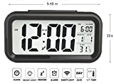 Gloue Digital Alarm Clock Battery Operated- Bedroom Clock- Temperature Display- Snooze and Large Display- Smart Night Light(white Backlight)- Battery Operated Alarm Clock and Home Alarm Clock.(black) ... (Black)