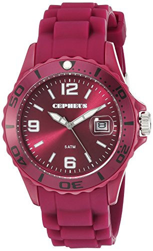 Cepheus Women's Quartz Watch with Red Dial Analogue Display and Red Silicone Strap CP603-044