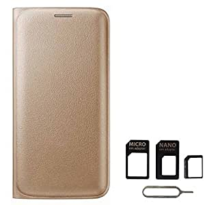 Avzax Premium Leather Flip Wallet Case Cover for Lyf Flame 7 (Gold) + SIM Card Adapter