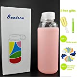 BONISON Novelty Durable Glass Water Bottle with Colorful Soft Silicone Sleeve (14 Ounce, Peach)