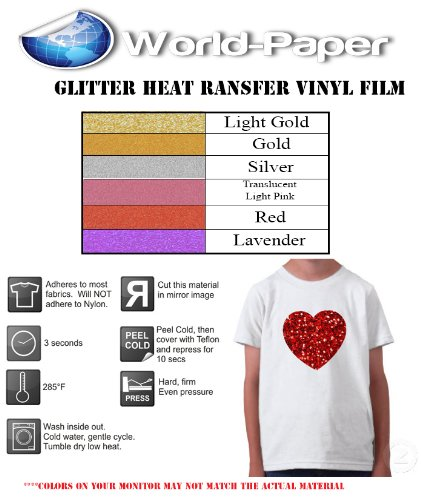 10''X12'' Glitter T-Shirt Heat Transfer Vinyl Sheets Sized For Cricut Silhouette Cutters(Red) front-1077454