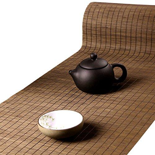 Tea Talent Handmade Natural Bamboo Sticks Tablemat Decor Kungfu Tea Set Slat Mat Placemat Tea Table Runner 12 By 59-inch, Coffee