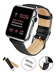 Apple Watch Band, LoHi 38mm Genuine Leather Replacement Watchband Strap Wrist Band Modern Buckle with Metal Clasp for Apple Watch & Sport & Edition All Models (38mm-Black)