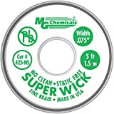 MG Chemicals 400-NS Series #3 No Clean Super Wick Desoldering Braid, 0.075-Inch Width X 5-Feet Length, Green