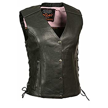 Black//Pink, Large Milwaukee Womens Leather Chaps
