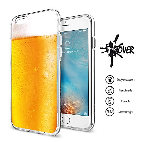 iPhone 4/4S - INKOVER - Custodia Cover Protettiva Guscio Soft Case Bumper Trasparente Sottile Slim Fit Tpu Gel Morbida INKOVER Effetto Boccale Bicchiere di Birra Beer Pinta Pub per APPLE iPhone 4/4S