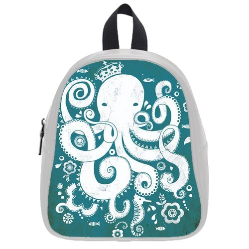 Generic Custom White Octopus Wearing Crown Fishes Printed White School Bag Backpack Fit Short Trip Pu Leather Small front-228681