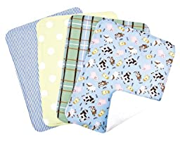 Trend Lab Set of 4 Burp Cloth, Baby Barnyard