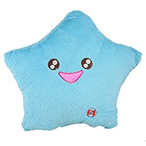 Smile Star LED Light Lamp Throw Toss Cushion Pillow Aqua Color
