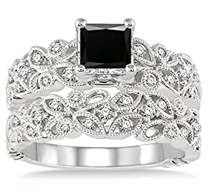 1.5 Carat Black Diamond Infinity Floral Antique Bridal set on 10k White Gold