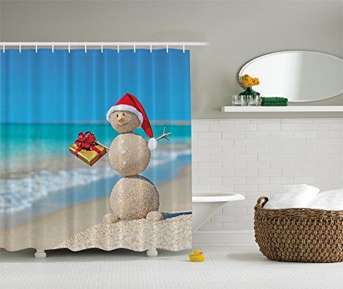 Holiday Christmas Sand Snowman on Beach Digital Art Shower Curtain (Beach Shower compare prices)
