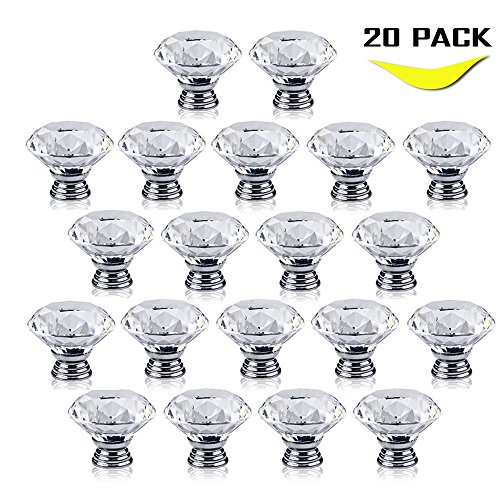 Geekercity Drawer Pull Knobs - 30mm Glass Clear Diamond Cabinet Drawer Pull Handle Knob Kitchen Door Wardrobe Used for Cabinet Drawer Chest Bin Dresser Cupboard Etc (20 PACK) (Disney Ceramic Knobs compare prices)