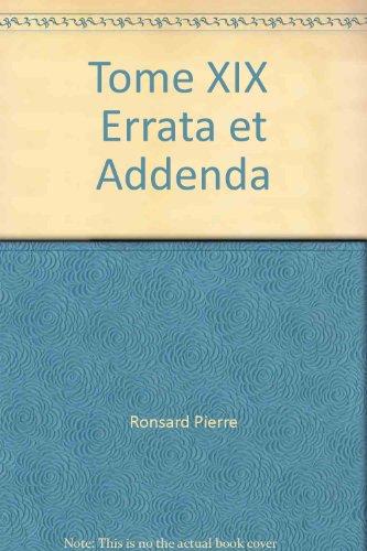 oeuvres completes t.19 errata et addenda