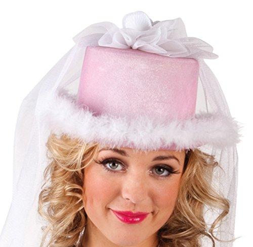 Boland 01357 - Cappello con Velo Pink Bride per Addio Nubilato, Bianco/Rosa, Taglia Unica