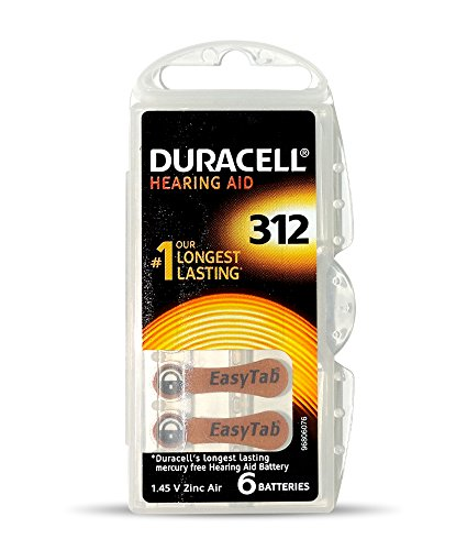 Duracell Easytab Hearing Aid Batteries Size 312, Pack of 6, 1.45 V  available at amazon for Rs.289