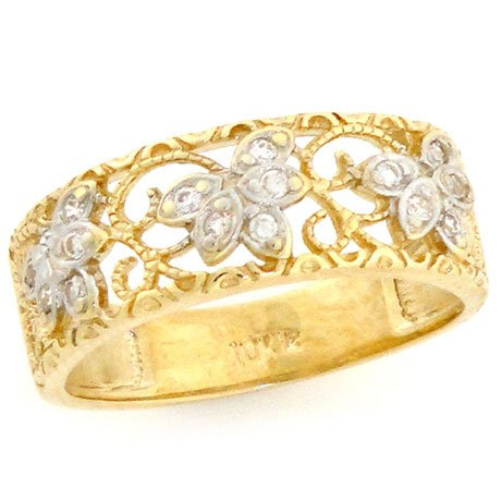 Solid Yellow Gold Filigree Leaf Design CZ Band Ring