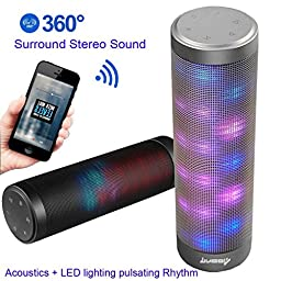 [UPGRADED] Portable Bluetooth Light Speakers - LUOOV Hi-Fi Portable Wireless Bluetooth Light up Speakers with 6 Pulse Colorful LED Light Modes Built-in Mic Handsfree Function(Black)