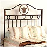 51pxVXvShGL. SL160  Frontier Wrought Iron Headboard Size: Twin, Metal Finish: Jade Teal, Style: Steer