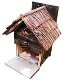木箱職人手作り 風合いある焼き杉 野鳥用巣箱 バードハウス 杉皮屋根仕様(完成品)[YS110]