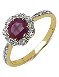 1.31CTW Genuine Ruby & White Topaz 14K Yellow Gold Plated .925 Sterling Silver Ring