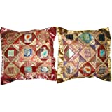 2 Ethnic Vintage Silk Sari Toss Pillow Indian Cushion Coversby Mogulinterior