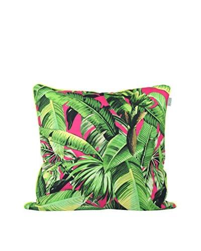 HF LIVING Funda De Cojín Pink Palm C Verde / Rosa
