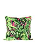 HF LIVING Funda De Cojín Pink Palm C (Verde / Rosa)