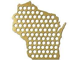 Wisconsin State Beer Cap Map, Beer Bottle Cap Collector Wall Art