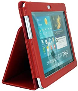 Shenit Premium PU Leather Case Cover Folio for Samsung Galaxy Tab 2 10.1 P5100/P5110 - Red