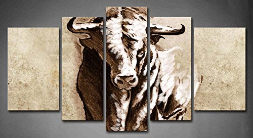 5 Panel Wall Art Spanish Bull Dangerous Bull With Beaked Horns Painting The Picture Print On Canvas Animal Pictures For Home Decor Decoration Gift Piece (Stretched By Wooden Frame,Ready To Hang)
