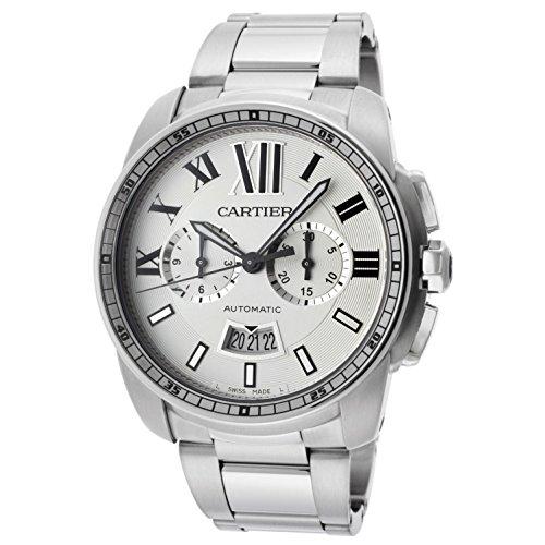 Cartier Men's Calibre De Cartier Chronograph 42mm Steel Bracelet & Case Automatic Analog Watch W7100045