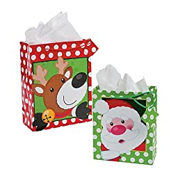 1 Dozen - Paper Polka Dot Christmas Gift Bags (8 Small & 4 Large) by Fun Express