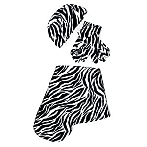 Black & White Zebra Print 3 Piece Fleece Hat, Scarf & Glove Women's Winter Set