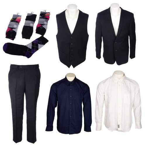 Bundle Mens Thomas Brooks 3 Piece Suit, 2 Pack Fila Shirts, Harbour Collection 15 Pack Socks in Size Large