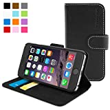 Snugg iPhone 6 Case - Leather Flip Case with Lifetime Guarantee (Black) for Apple iPhone 6