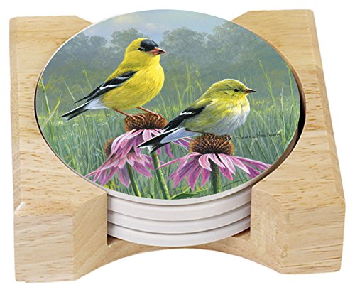 CounterArt Beautiful Songbirds Absorbent Coasters in Wooden Holder, Goldfinches, Set of 4